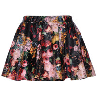 ROMWE   Multicolor Floral Printed Black Faux Leather Skirt, The Latest Street Fashion