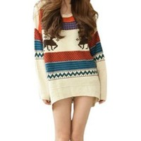 Women's Fawn Colored Stripe Loose Xmas Sweater, One Size:Amazon:Clothing