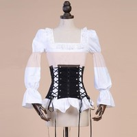 Retro Vintage Black and White Girdle Straps Bandage Shirt and Corset Two Pieces Top