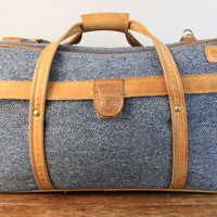 Vintage Hartmann Suitcase made of Leather and Tweed
