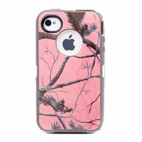 Huaxia Datacom ® Heavy Duty Defender Hybrid Hard Case Tough Tree Camo Shockproof Dirtproof Defender Protector TPU Skin Case Cover for iPhone 4 4S - Camouflage on white/Pink