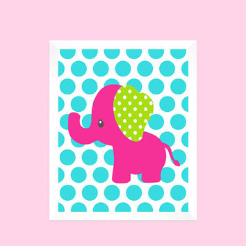 Hot Pink and Lime Elephant on Aqua Dots, Baby Nursery Art CUSTOMIZE YOUR COLORS 8x10 Prints, nursery decor nursery print art baby room decor