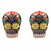Multicolor Calavera Skull Post Earrings