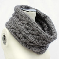 Gray Knitted Cowl, Gray Knit Infinity Scarf, Chunky Gray Cowl, Gray Knit Snood, Slate Chunky Knit Scarf, Gray Knit Infinity, Knit Wool Scarf
