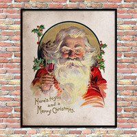 Santa Claus Vintage Art Print Wine Party Holiday Decoration Wall Decor Christmas Printable Home Office Digital Download