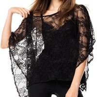 Black Batwing Sleeves Lace T-Shirt