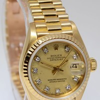 Rolex Ladies Datejust President 18k Yellow Gold Diamond Dial Box/Papers 69178