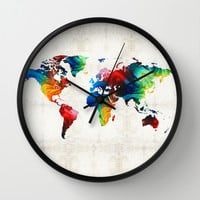 World Map 19 - Colorful Art By Sharon Cumming Wall Clock by Sharon Cummings