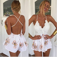 White Floral Backless Flounced Romper - White