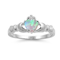 ALL NATURAL GENUINE - 9MM 2ctw Sterling Silver OCTOBER FIRE WHITE OPAL HEART BIRTHSTONE Royal Claddagh Celtic Irish Ring-SIZE 2-13 (.925 Italian Sterling Silver, 7) (.925 Italian Sterling Silver, 7.5)
