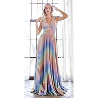 Long A-Line Rainbow Dress Metallic Pleated Skirt Criss Cross Open Back