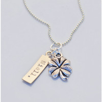 Niall Horan Inspired Four Leaf Clover Necklace - One Direction Hand Stamped Tag Adorned with Lucky Charm - Gift For Her Teens Directioners