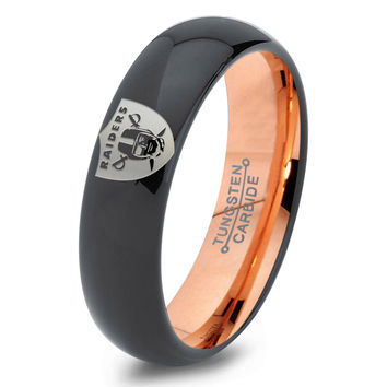 Oakland Raiders Ring Mens Fanatic NFL Sports Football Boys Girls Womens NFL Jewelry Fathers Day Gift Tungsten Carbide 088-R