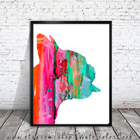 Colorful 2 French Bulldog Watercolor Print, Home Decor, dog watercolor,watercolor painting, French Bulldog art,animal watercolor,Bulldog art