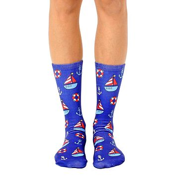 Nautical Sailboat Crew Socks
