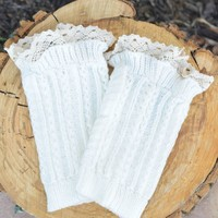 White Knitted Boot Cuffs