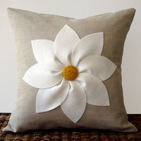 White and Yellow Flower PILLOW COVER in Natural Linen by JillianReneDecor Decorative Home Decor (16x16)
