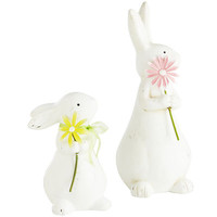 Ceramic Bunnies with Flowers