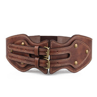 Double Needle Leather Buckle Belt