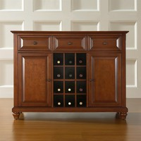 Classic Cherry Wood Finish Dining Room Sideboard with Wine Storage