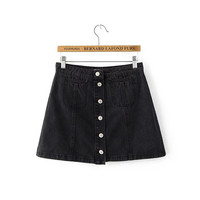 Women's Fashion Summer Black With Pocket Denim Skirt [4920248772]