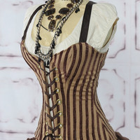Brown Stripe Crossfire Corset by Damselinthisdress on Etsy