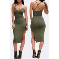 Stylish Solid Color Spaghetti Strap Back Criss-Cross Side Slit Bodycon Dress For Women