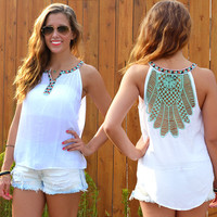 White Sleeveless Backless Tank Tops Plus Size