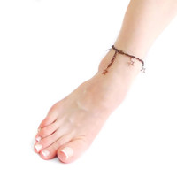 On Sale // Anklet, Star ankle bracelet, Copper, Delicate anklet, summer jewelry, Gift under 20, Slave, Foot jewelry, Brown, Ethno Boho