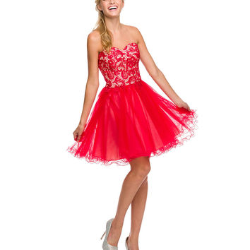 Red Paisley Lace Up Strapless Tulle Dress   Prom 2015