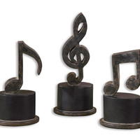 High Pointe Furnishings, Noreis Music Notes Metal Figurines, Set of 3