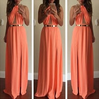 Women Halter Summer Beach Backless Split Chiffon Maxi Long Evening Party Dress