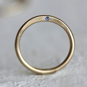 14k Solid Gold Stacking Birthstone Ring / Mother's Ring / Minimalist Gemstone Ring