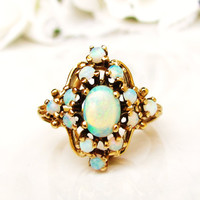Vintage Opal Cluster Ring Alternative Vintage Engagement Ring 1.12ctw Opal Wedding Ring 14K Yellow Gold October Birthstone Ring