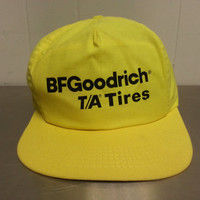 Vintage 80's BF Goodrich TA Tires Snapback Hat Yellow Cotton Hipster Style Dad Hat 1980's Car Mechanic Hat Cap