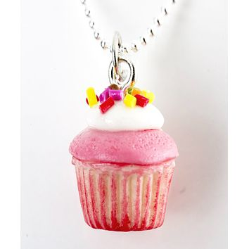 Strawberries and Cream Cupcake Necklace
