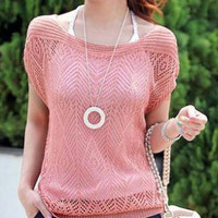 Diamond Pattern Cut-Out Short Sleeve Knitted Top