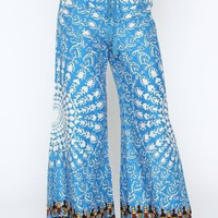 Eliza Bella for Flying Tomato NEW Teal Print Boho Hippie Palazzo Pant Size SML