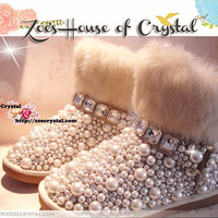 WINTER Sheepskin Cuff Wool Boots with shinning CRYSTALS and elegant PEARLS