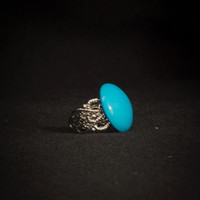 Turquoise Button Statement Ring, Vintage Button, Silver Ring