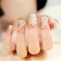 New Special Offer Finger Tips Faux Ongles 24 Bride Manicure Nail Stickers Fake Nails  acrylic nail