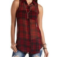 Plaid Chiffon Button-Up Tunic Top by Charlotte Russe - Red Combo
