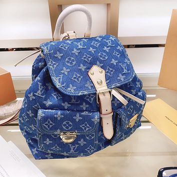 LV Louis Vuitton  High Quality Women Men Casual Denim Daypack Backpack Bookbag School Bag