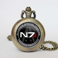 Mass Effect Inspired N7 Pocket Watch Pendent Necklace From Guodegang00, $19.77 | Dhgate.Com