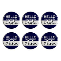 Destin Hello My Name Is Plastic Resin Button Set of 6