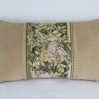 "Gold Tapestry Border Pillow, Floral Pink Yellow Brown and Teal Tones,  12x20"" Lumbar Rectangle, Vintage Look, Ready To Ship"