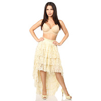 Plus Size Cream High Low Lace Skirt