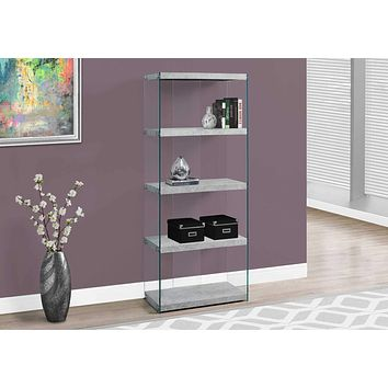 """Modern Bookshelf - 60"""" Grey Cement Particle Board and Clear Tempered Glass Bookcase"""