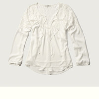 Lace Panel Peasant Top