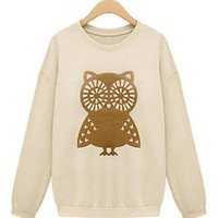 Women Spring Casual Owl Thicken Loose Jumper, Small, Beige